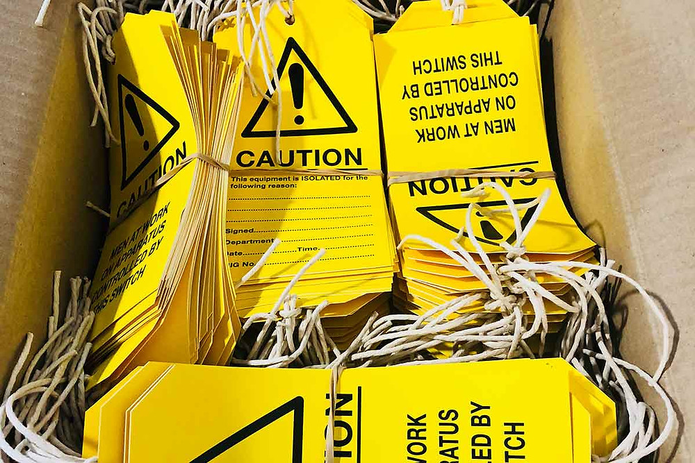 Image showing labels created digitally in-house at EP Cowens Birkenhead - safety signs, brochures, booklets and more