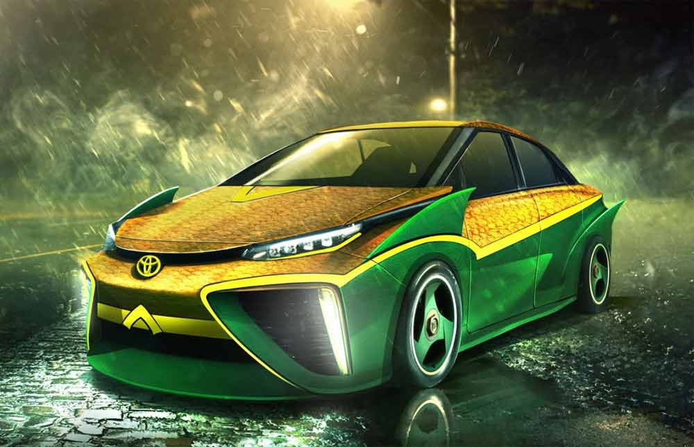 Image showing an Aquaman custom car vinyl wrap used in a blog post on superhero car wraps by Autoharp Centre Liverpool