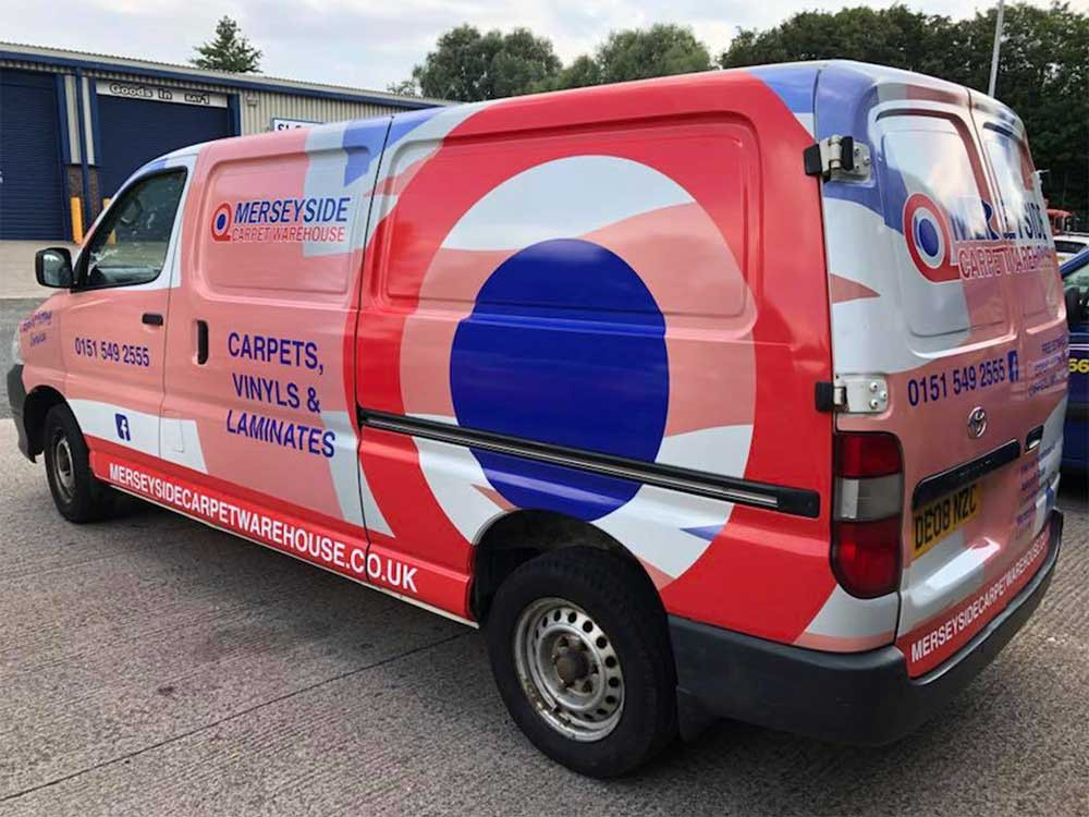 Image showing a full custom van wrap used in a blog post by Autowrap Centre Liverpool about the legal requirements of car and van vinyl wrapping