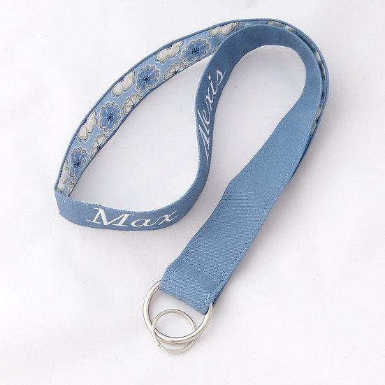 Grand porte-clés brodé Bleu