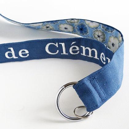 Grand porte-clés brodé Bleu marine