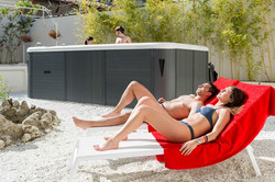 sun bath, swimming pool
