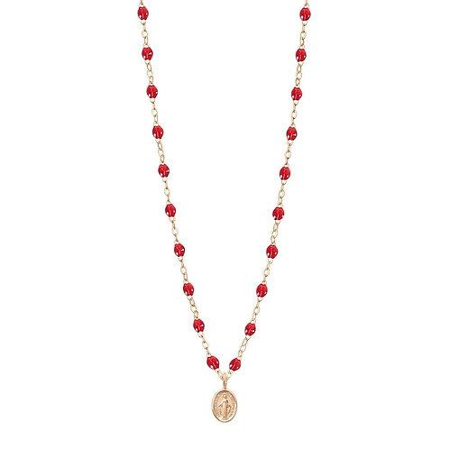 Collier rouge rubis Madone, or rose, 42 cm GIGI CLOZEAU