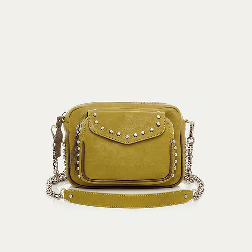 Sac Cuir Charly Moutarde Clouté CLARIS VIROT