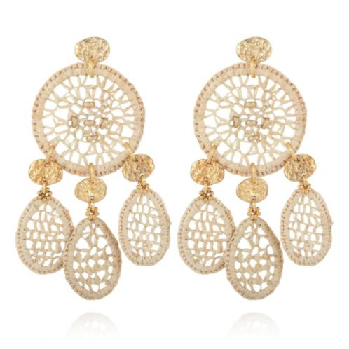 Boucles d'oreilles Fanfaria raphia or GAS bijoux