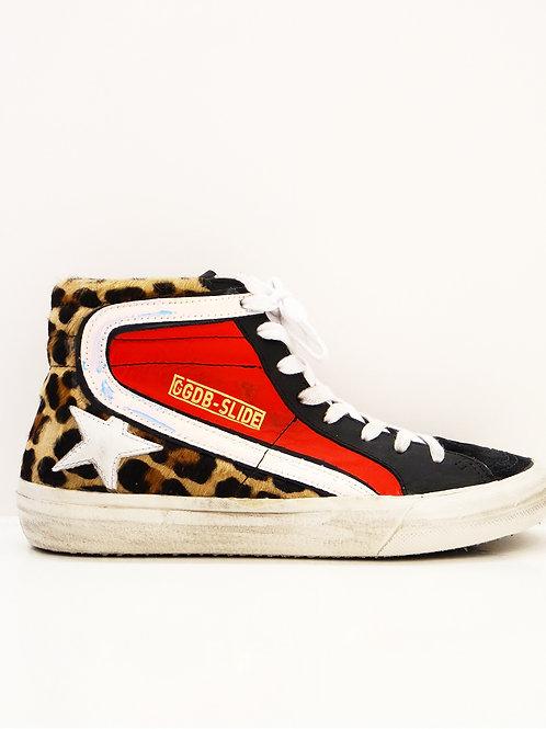 Golden Goose Sneakers Slide rouges  imprimé léopard