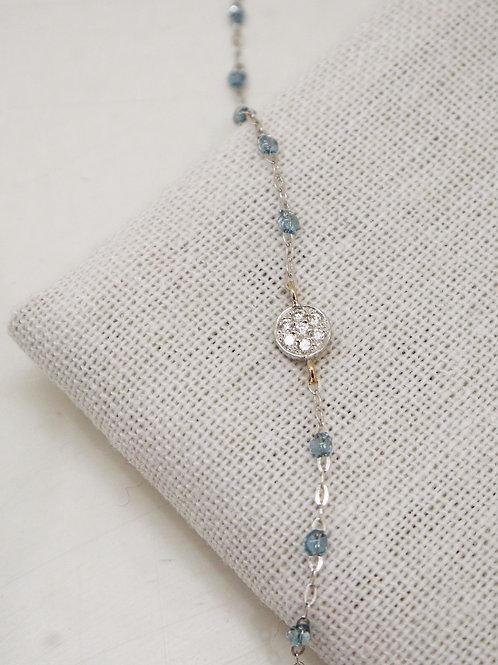 Bracelet Sparkle Puce diamants or blanc 17 cm