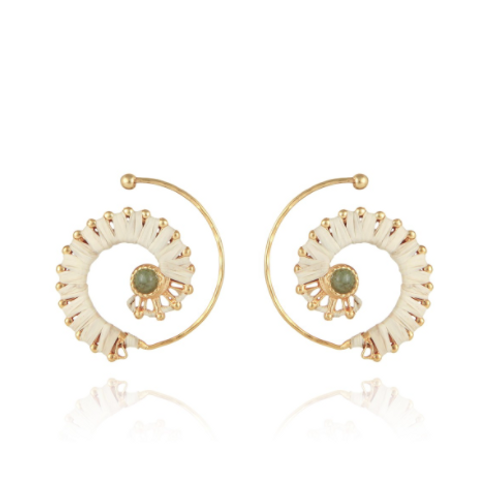 Boucles d'oreilles Calliope raphia or GAS bijoux