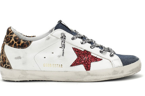 Baskets Superstar Cuir Blanc Denim Glitter Rouge Horsy Léopard Golden Goose