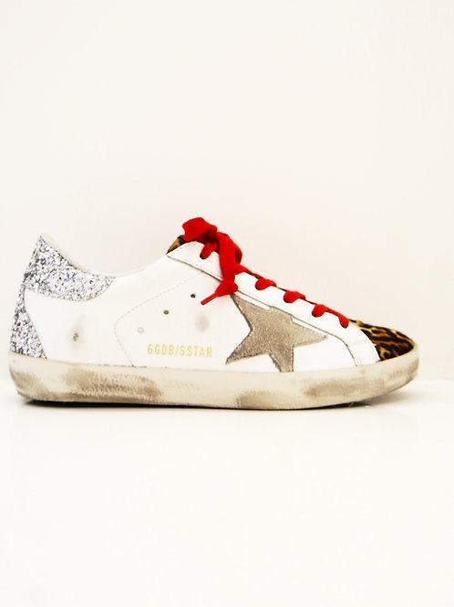 Golden Goose  Sneakers Super-Star blanches arrière argent pailleté