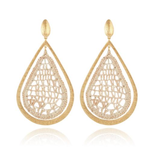 Boucles d'oreilles Bibis raphia or GAS bijoux