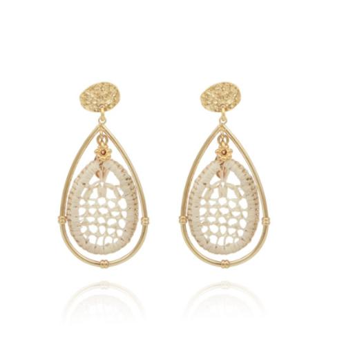 Boucles d'oreilles Cage raphia or GAS bijoux