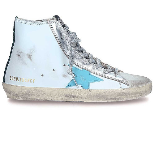 Golden Goose Sneakers Francy White Leather Blue Star