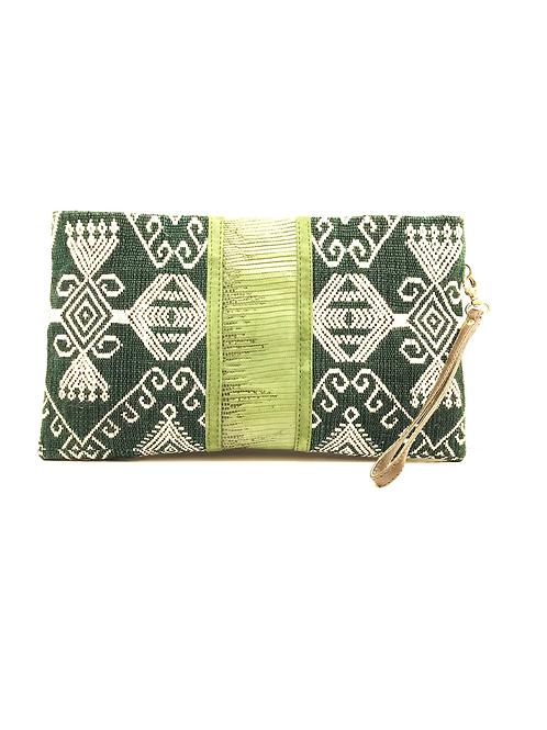 Pochette Lézard Lou Vert Timor CLARIS VIROT