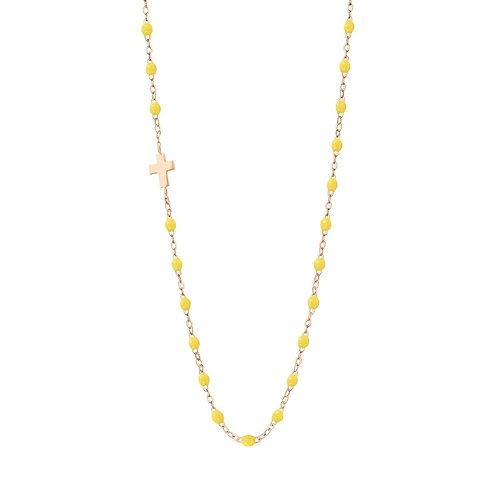 Collier citron Croix de côté, or rose, 42 cm
