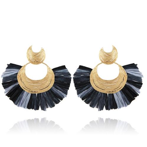 Boucles d'oreilles Luna Wave raphia or GAS bijoux