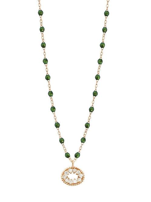 Collier scarabée Oeil de Pirate, diamants, or rose, 42 cm GIGI CLOZEAU
