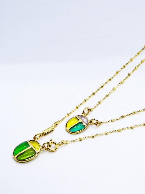 Collier scarabée vert or GAS bijoux