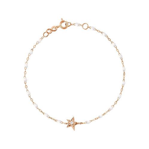 Bracelet blanc Etoile diamant Gigi Clozeau or rose 17 cm