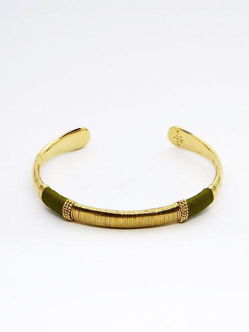 Bracelet Macao raphia or vert GAS bijoux