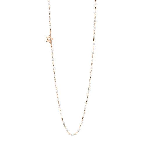 Collier blanc Etoile diamant or rose 42 cm Gigi Clozeau