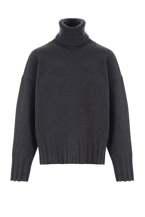 Pull Ely Col Roulé Laine Gris MADE IN TOMBOY