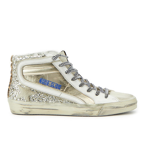 Baskets Slide Cuir Doré Glitter GOLDEN GOOSE
