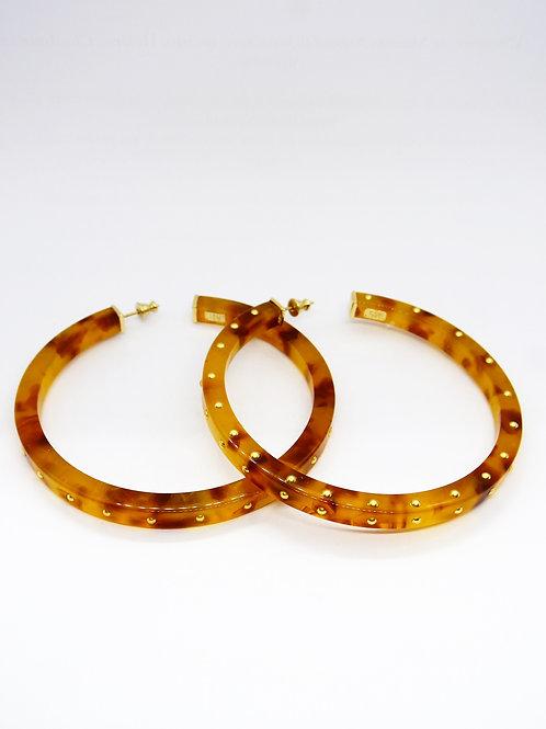 Boucles d'oreilles créoles Hélios clous acétate or GAS bijoux