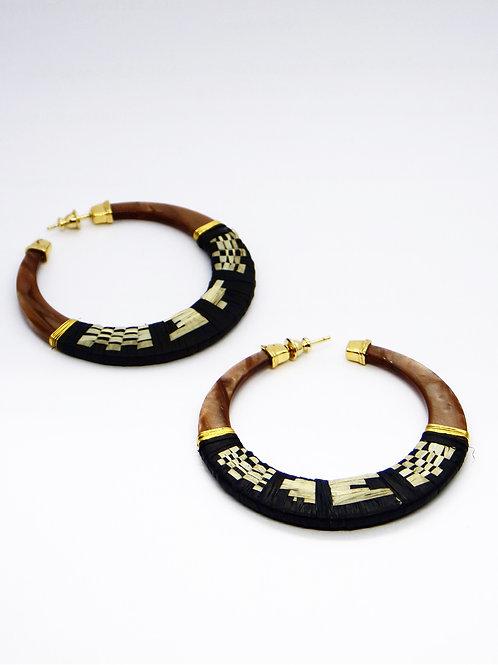 Boucles d'oreilles créoles Lodge raphia acétate or - Écaille GAS bijoux