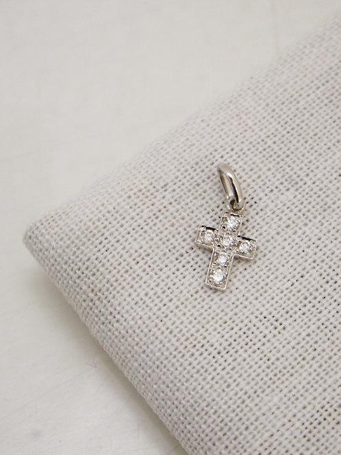 Pendentif Croix diamants or blanc Gigi Clozeau