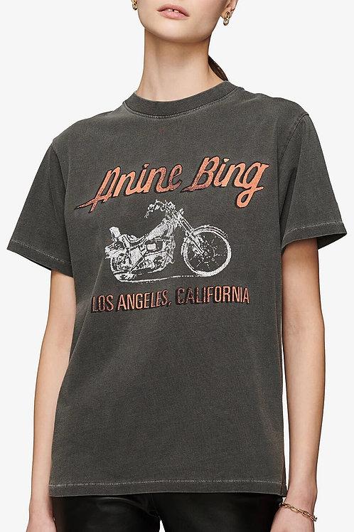 Tee Shirt Anine Bing Lili Tee - Gun Powder Motorcycle - Washed Grey