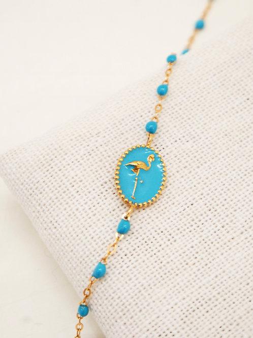 Bracelet Flamant résine turquoise or rose 17cm Gigi Clozeau