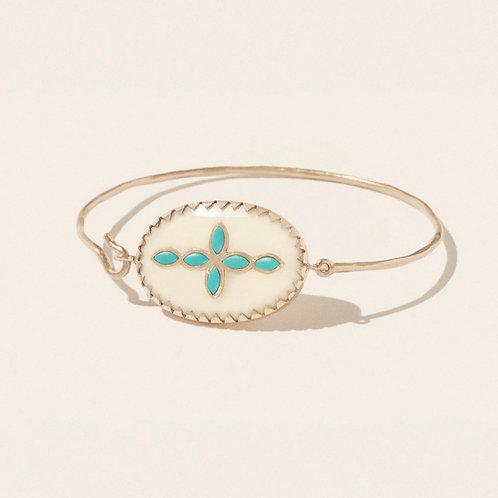 Bracelet Garance Nº2 Blanc Turquoise PASCALE MONVOISIN