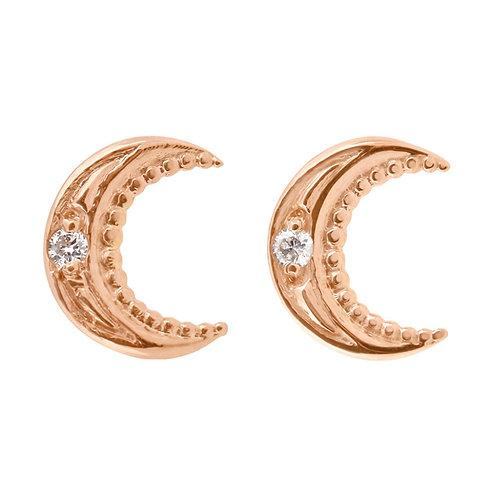 Boucles d'oreilles Lune Or Diamants GIGI CLOZEAU