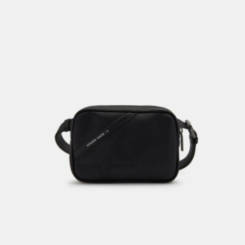 Golden Goose  Sac Star Belt Bag noir en cuir martelé