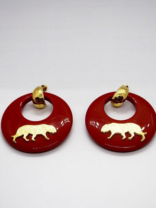 Boucles d'oreilles Tigre acétate or GAS bijoux