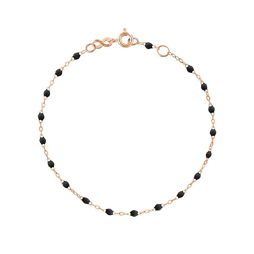 Bracelet noir Classique Gigi Clozeau or rose 19 cm