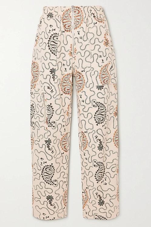 Pantalon droit en coton imprimé Noferis Isabel Marant Étoile