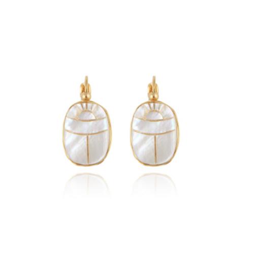 Boucles d'oreilles Scaramouche nacre or GAS bijoux