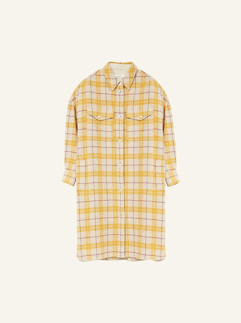 Manteau oversize en flanelle jaune Fontia Isabel Marant étoile