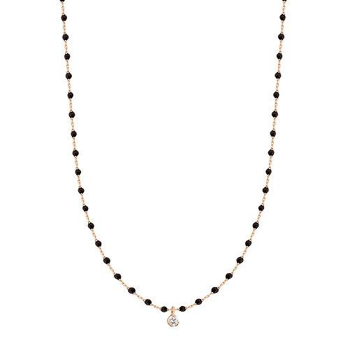 Collier noir Mini Gigi Clozeau or rose 1 diamant 40 cm