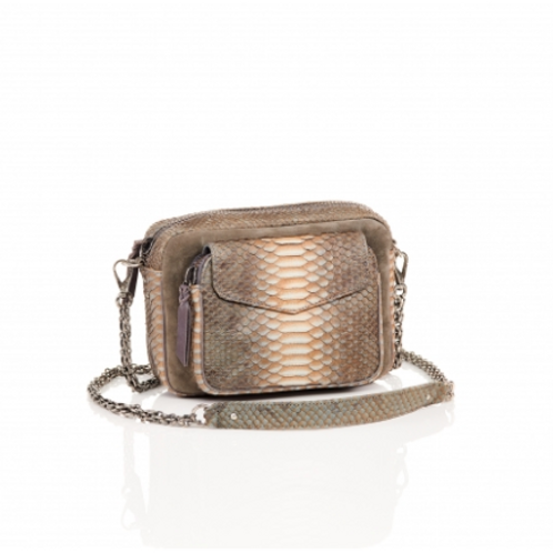 Sac Claris Virot Python Charly Greige Suede