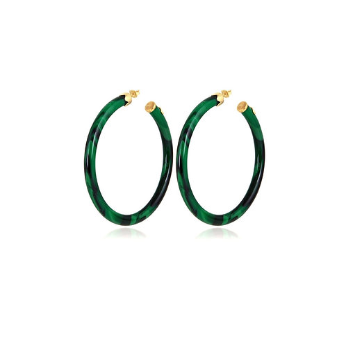 Boucles d'oreilles Caftan petit modèle acétate or  Vert GAS BIJOUX