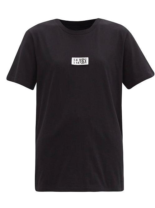 T-shirt en jersey de coton à empiècement logo MM6 MAISON MARGIELA