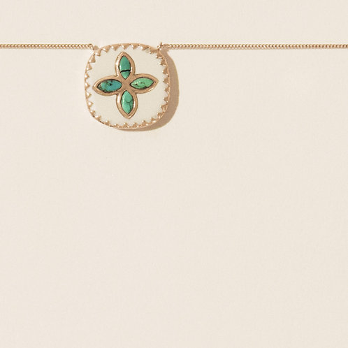 Bowie White turquoise necklace Pascale Monvoisin