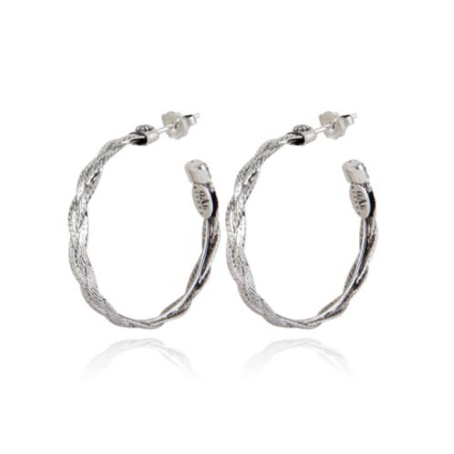 Boucles d'oreilles créoles Tresse argent GAS bijoux