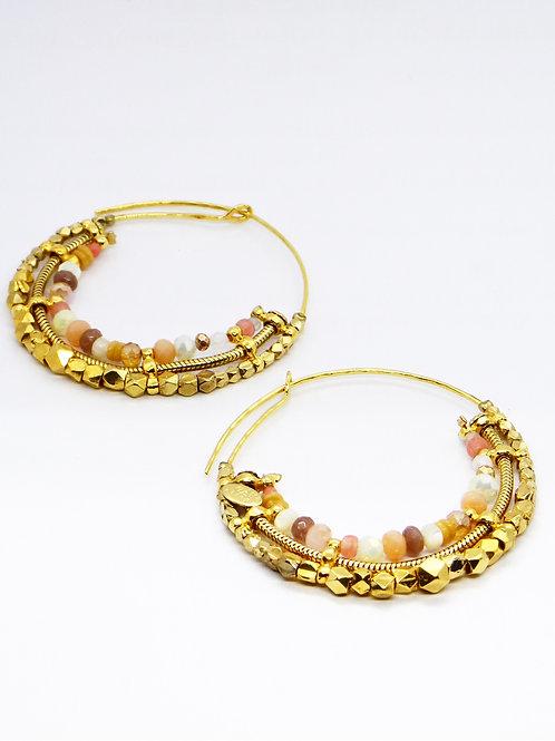 Boucles d'oreilles créoles Comedia Serti or GAS bijoux