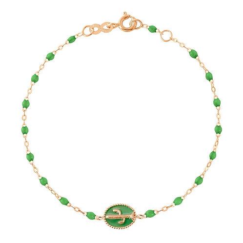 Bracelet or rose perle et cactus émaillé vert fluo Gigi Clozeau