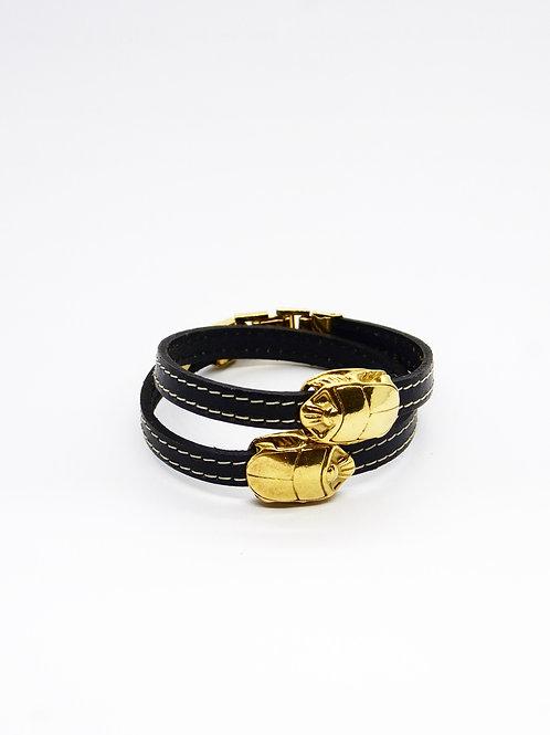 Bracelet cuir noir Scarabée or GAS bijoux