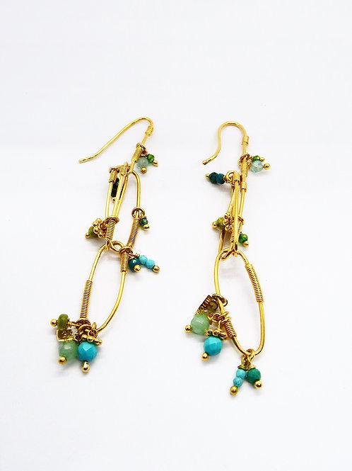 Boucles d'oreilles Cocoa Grappe Serti or GAS bijoux